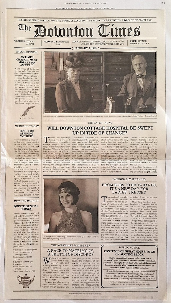 epa05087016 A special advertising section called 'The Downton Times' wraps the Sunday edition of The New York Times newspaper lying on a coffee table in Orleans, Massachusetts, USA, 03 January 2016, as an advance to the US premiere of the first episode of the sixth and final season of British drama series 'Downton Abbey' which will air the same day. EPA/RUTH CAMPBELL ILLUSTRATION +++(c) dpa - Bildfunk+++