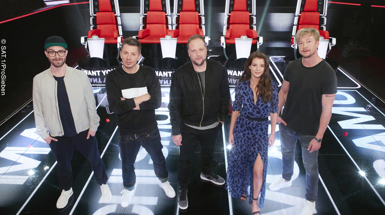 Die 'The Voice of Germany'-Coaches 2017: Mark Forster, Michi Beck, Smudo, Yvonne Catterfeld und Samu Haber (v.l.n.r.)