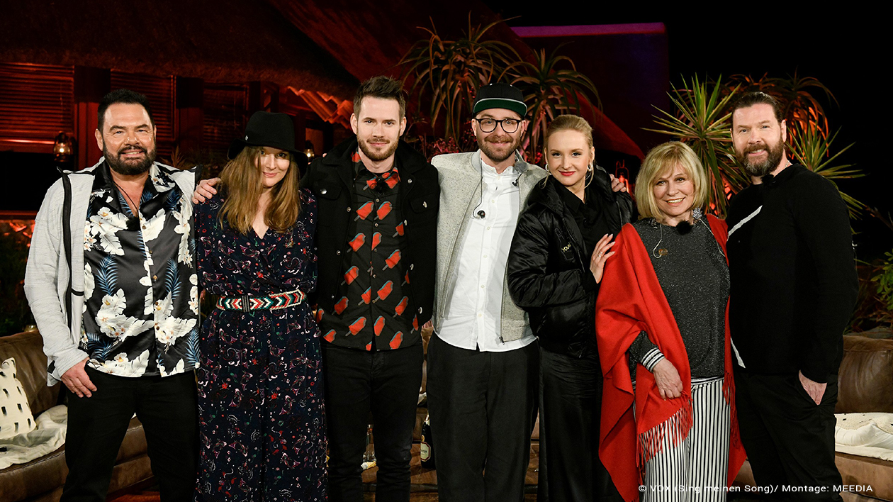 Marian Gold, Judith Holofernes, Johannes Strate, Mark Forster, Leslie Clio, Mary Roos, Rea Garvey (v.l.n.r.) in 'Sing meinen