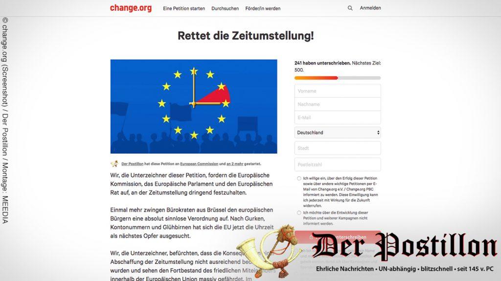 Online Petition Zeitumstellung
