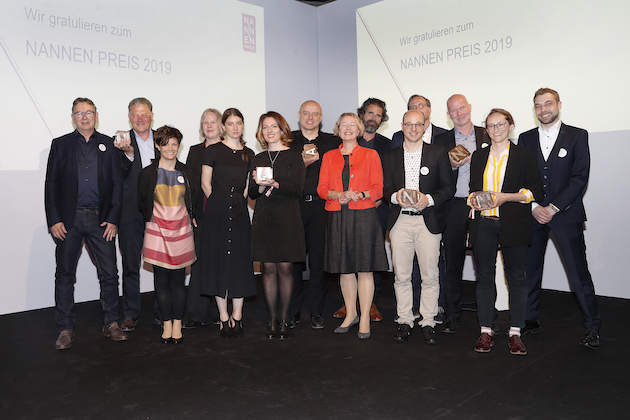 HAMBURG, GERMANY - MAY 25: Group picture of the winners at the 'Tag des Journalismus' with Nannen Award 2019 at Gruner + Jahr